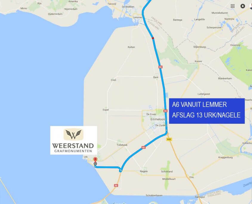 Route naar Weerstand Grafmonumenten vanuit Lelystad