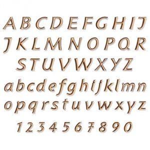 Bronzen letters voor grafsteen