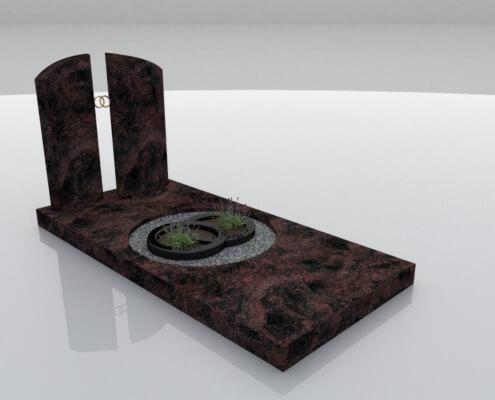 Grafsteen Bant Indian Aurora en Zwart graniet