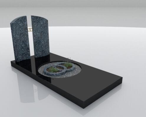 Grafsteen Bant in Labrador Blue en Zwart graniet