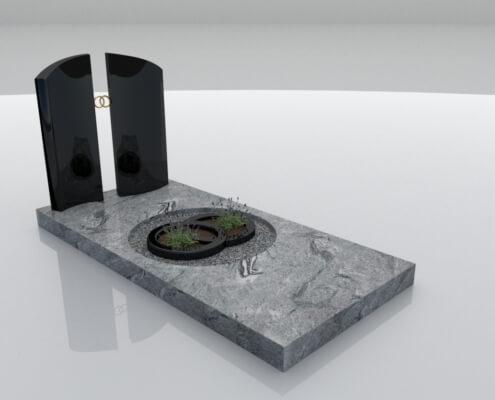 Grafsteen Bant in Wiscount White en Zwart graniet
