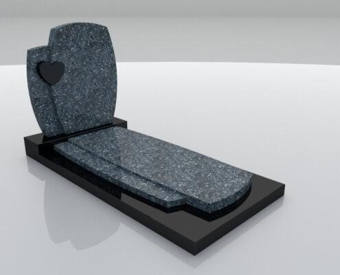 Grafsteen Creil in Labrador Blue en Zwart graniet
