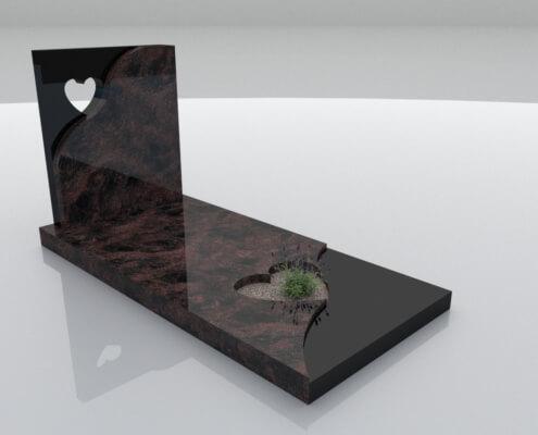 Grafsteen Emmeloord Indian Aurora en Zwart graniet