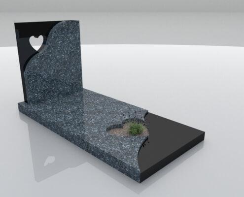 Grafsteen Emmeloord Labrador Blue en Zwart graniet