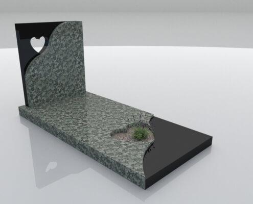 Grafsteen Emmeloord Olive Green en Zwart graniet