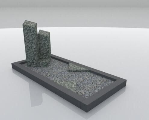 Grafsteen Ens in Olive Green en Zwart gezoet graniet