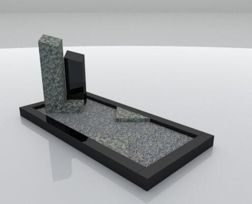 Grafsteen Ens in Olive Green en Zwart graniet