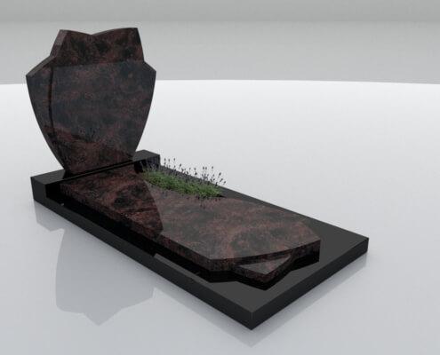 Grafsteen Espel in Indian Aurora en Zwart graniet
