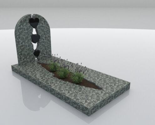 Grafsteen Kraggenburg in Olive Green en Zwart graniet