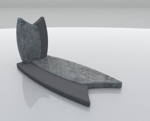 Grafsteen Marknesse in Wiscount White en Zwart graniet