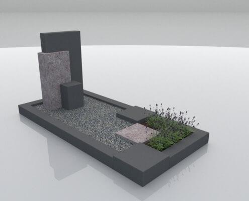 Grafsteen Noordoostpolder in Lavendula en Zwart graniet