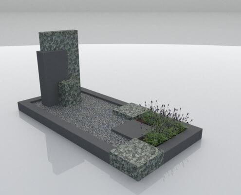 Grafsteen Noordoostpolder in Olive Green en Zwart graniet
