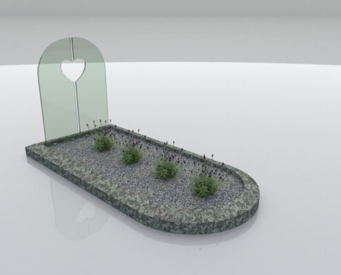 Glasmonument Almere met Olive Green omranding