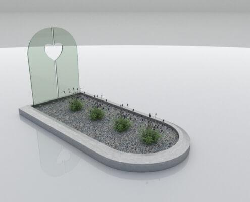 Glasmonument Almere met RVS omranding