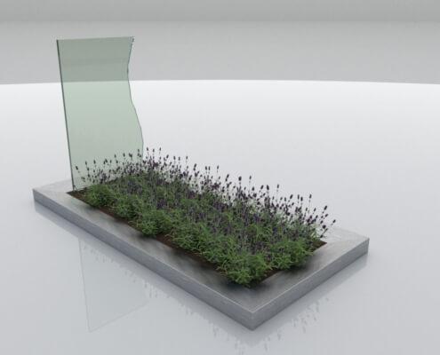 Glasmonument Dronten met RVS omranding