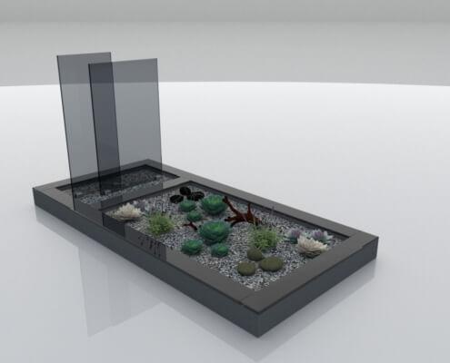 Glasmonument Lelystad in antraciet glas