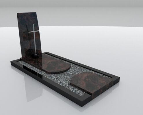 Grafsteen model Urk in Indian Aurora en Zwart graniet