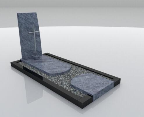 Grafsteen Urk in Orion Blue en Zwart graniet