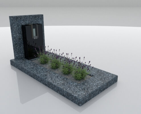 Grafsteen Rutten in Labrador Blue en Zwart graniet