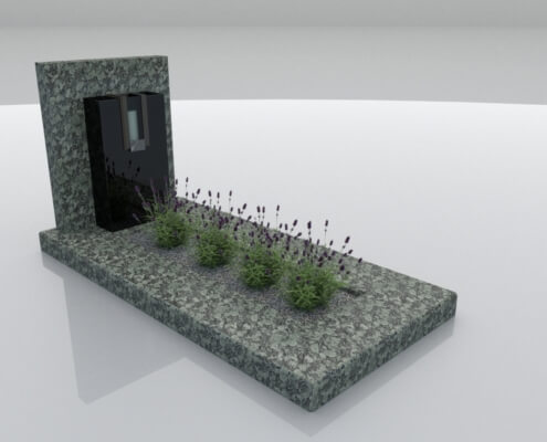 Grafsteen Rutten in Olive Green en Zwart graniet