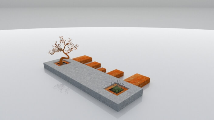 Grafmonument Blokzijl van cortenstaal en steen
