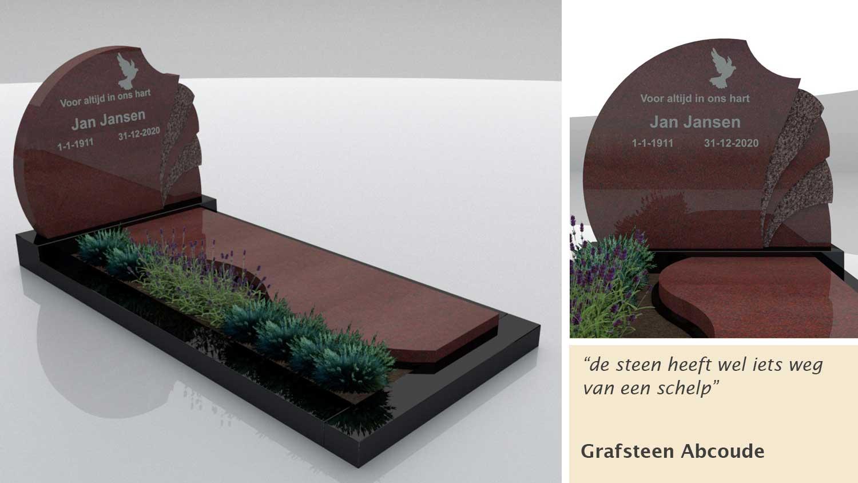 Grafsteen Abcoude Imperial Red en Zwart graniet