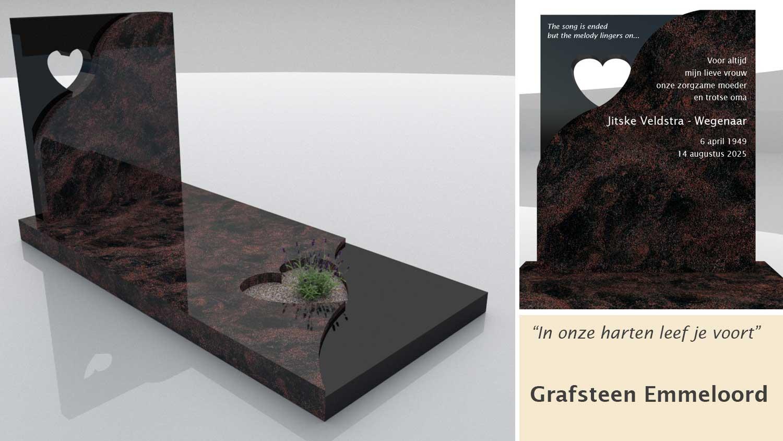 Grafsteen model Emmeloord in Indian Aurora en Zwart graniet