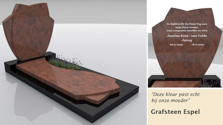 Grafsteen Espel in Multicolor Rood en Zwart graniet