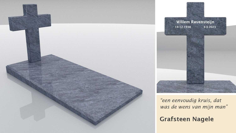 Grafsteen Nagele in Orion Blue graniet