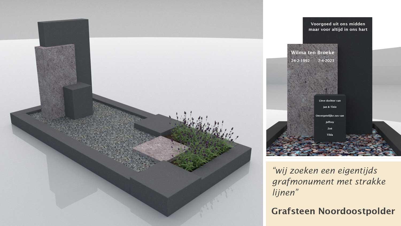 Grafsteen Noordoostpolder in Zwart graniet en Lavnedula graniet