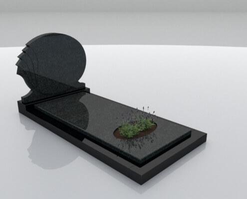 Grafsteen Halfweg Zwart en Royal Impala graniet