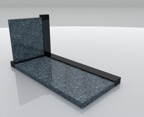 Grafsteen Hattemerbroek in Labrador Blue en Zwart graniet
