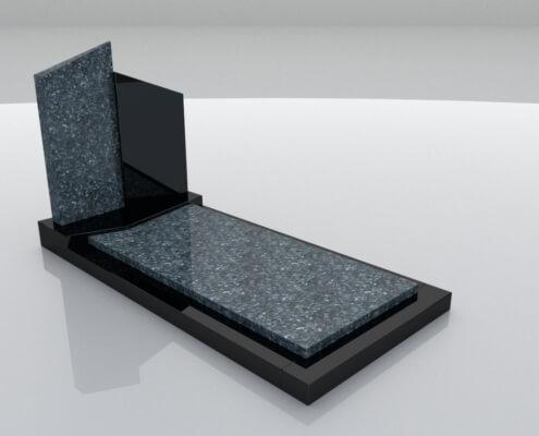 Grafsteen Weesp in Labrador Blue en Zwart graniet