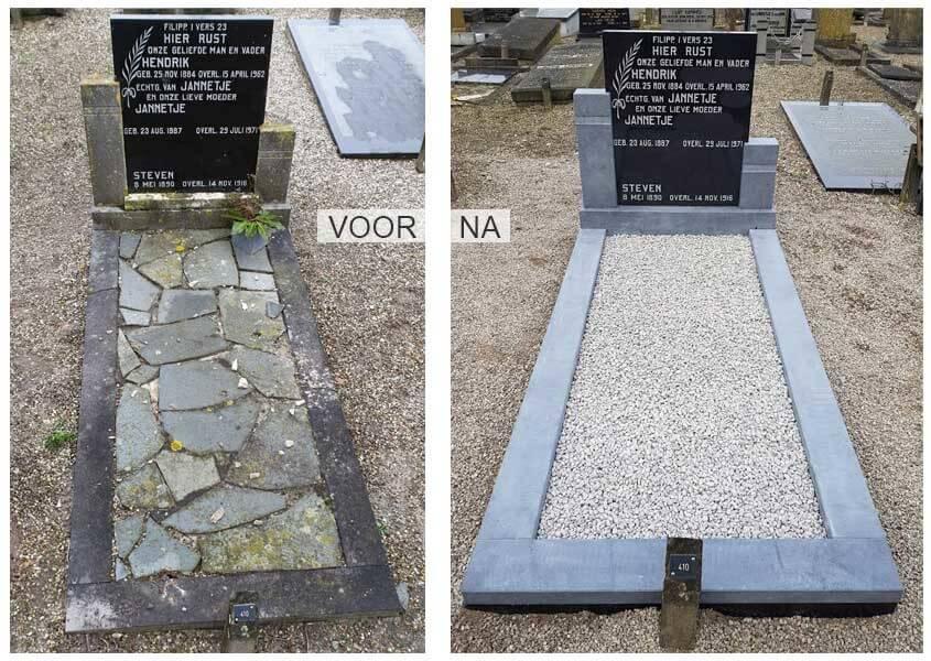 Grafsteen renovatie voor en na
